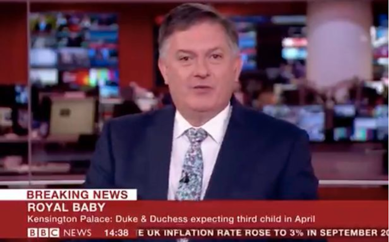 BBC newsreader Simon McCoy was sarcastic reading out the new royal baby news. Photo: BBC