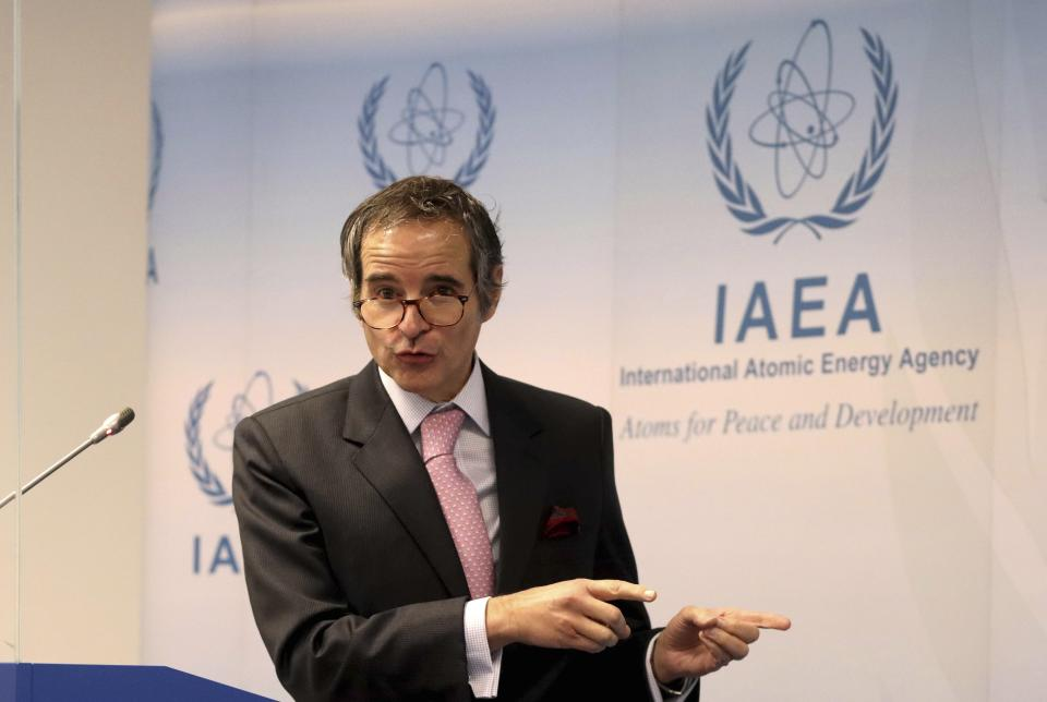 Director General of International Atomic Energy Agency, IAEA, Rafael Mariano Grossi from Argentina, addresses the media during a news conference behind plexiglass shields after a meeting of the IAEA board of governors at the International Center in Vienna, Austria, Monday, March 1, 2021. Due to restrictions related to COVID-19, it will be organised as a virtual meeting from the IAEA. (AP Photo/Ronald Zak)