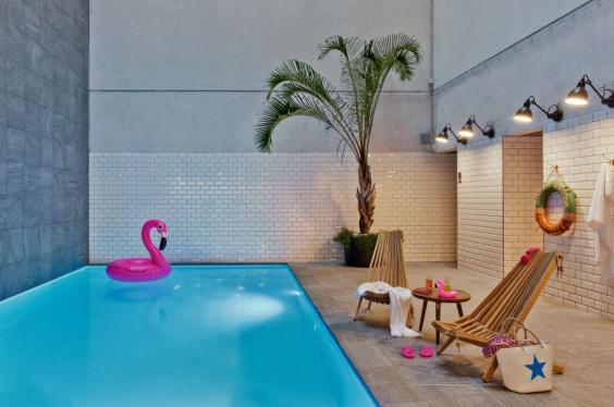 The pool is an unexpected bonus at this budget establishment (Moxy Amsterdam Houthavens )