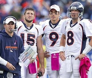 Ex-Broncos coach Josh McDaniels (left) showed favoritism for Tim Tebow. Under new coach John Fox, that's changed, to the delight of quarterbacks Kyle Orton (right) and Brady Quinn