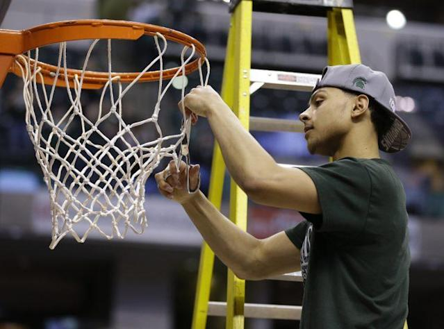 "<a class=""link rapid-noclick-resp"" href=""/nba/players/5726/"" data-ylk=""slk:Bryn Forbes"">Bryn Forbes</a> became one of the best 3-point specialists in the country at Michigan State. (AP)"
