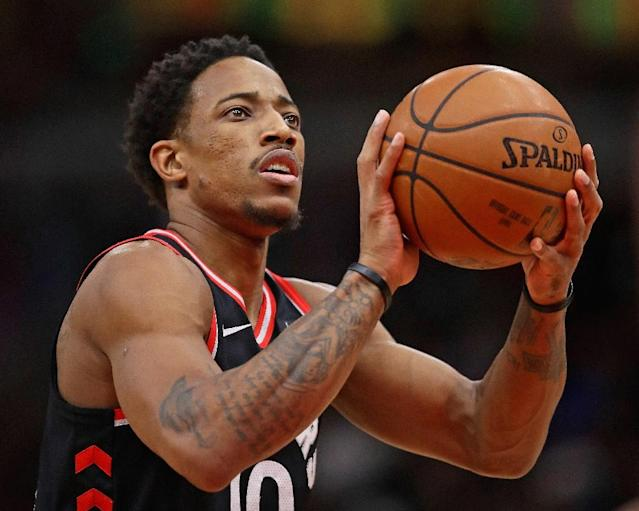 DeMar DeRozan had 21 points, six assists and seven rebounds for the Raptors who improved to 31-13 with a win over the San Antonio Spurs (AFP Photo/JONATHAN DANIEL)