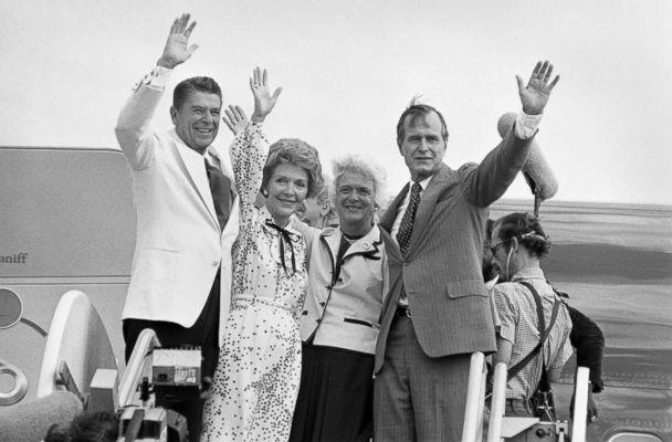 PHOTO: Republican presidential candidate Ronald Reagan, left, and vice presidential candidate George Bush wave goodbye along with their wives as they leave Detroit after the Republican National Convention, July 19, 1980. (Bettmann Archive/Getty Images, file)