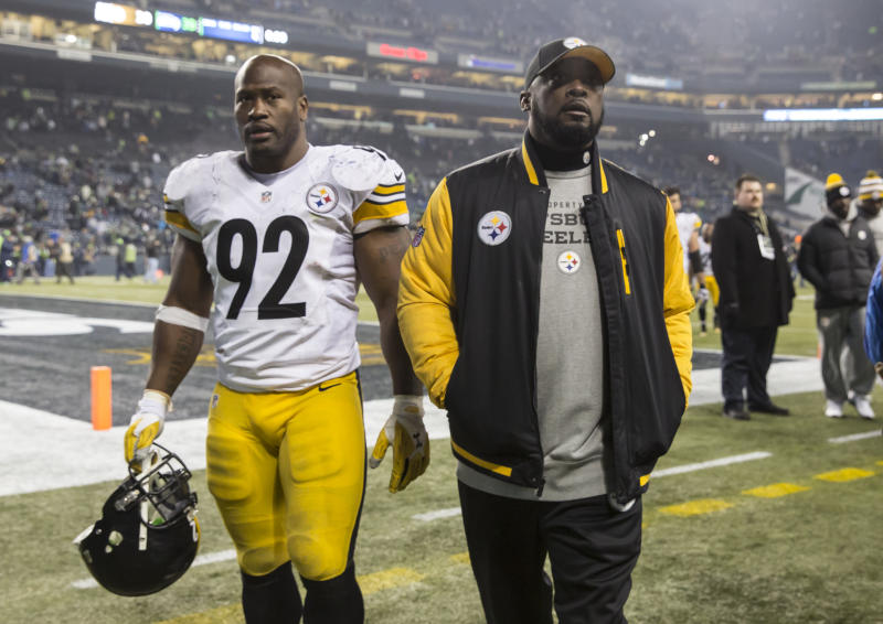 James Harrison took umbrage with the suggestion that Mike Tomlin had a bounty system without actually denying that Tomlin paid his fine. (Photo by Stephen Brashear/Getty Images)