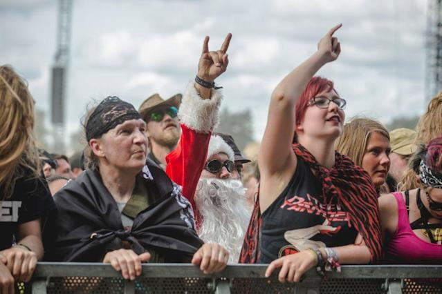Fans rock out at the Wacken Open Air festival at the weekend (Picture: Getty)