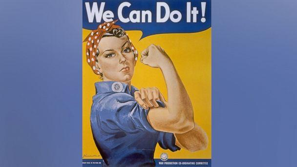 PHOTO: WWII patriotic We Can Do It poster by J. Howard Miller featuring a woman factory worker in bandana rolling up her sleeve & flexing her arm muscles.  (Time Life Pictures/National Archives/The LIFE Picture Collection via Getty Images)