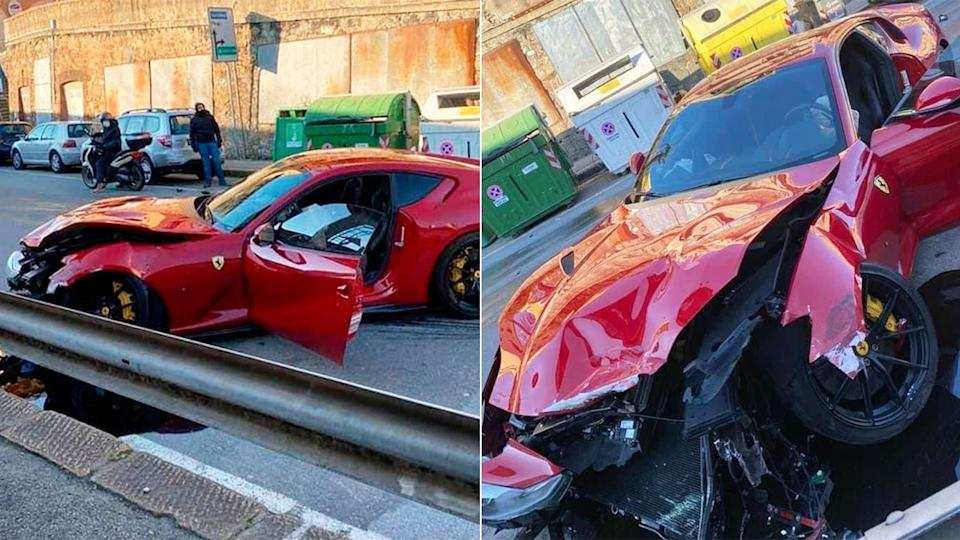 Images here show the extent of damage done to the football player's Ferrari.