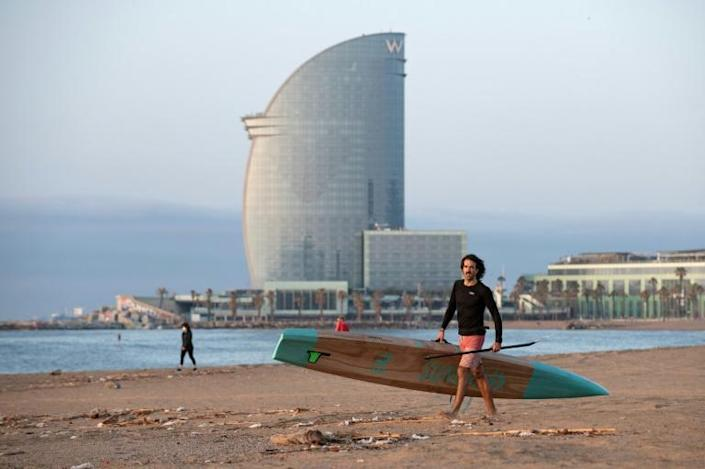 Barcelona's beaches opened on Friday for people doing exercise and sport (AFP Photo/Josep LAGO)