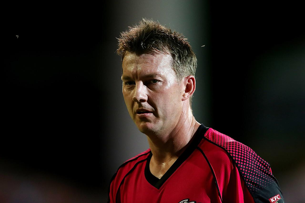 ADELAIDE, AUSTRALIA - DECEMBER 23: Brett Lee of the Sixers looks on during the Big Bash League match between the Adelaide Strikers and the Sydney Sixers at Adelaide Oval on December 23, 2012 in Adelaide, Australia.  (Photo by Morne de Klerk/Getty Images)