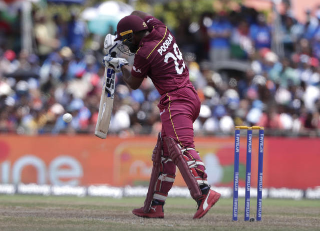 West Indies' Nicholas Pooran bats during the second Twenty20 international cricket match against India, Sunday, Aug. 4, 2019, in Lauderhill, Fla. (AP Photo/Lynne Sladky)