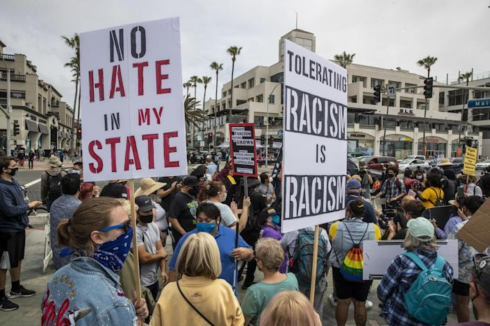 Protesters will be demonstrating at Huntington Beach.