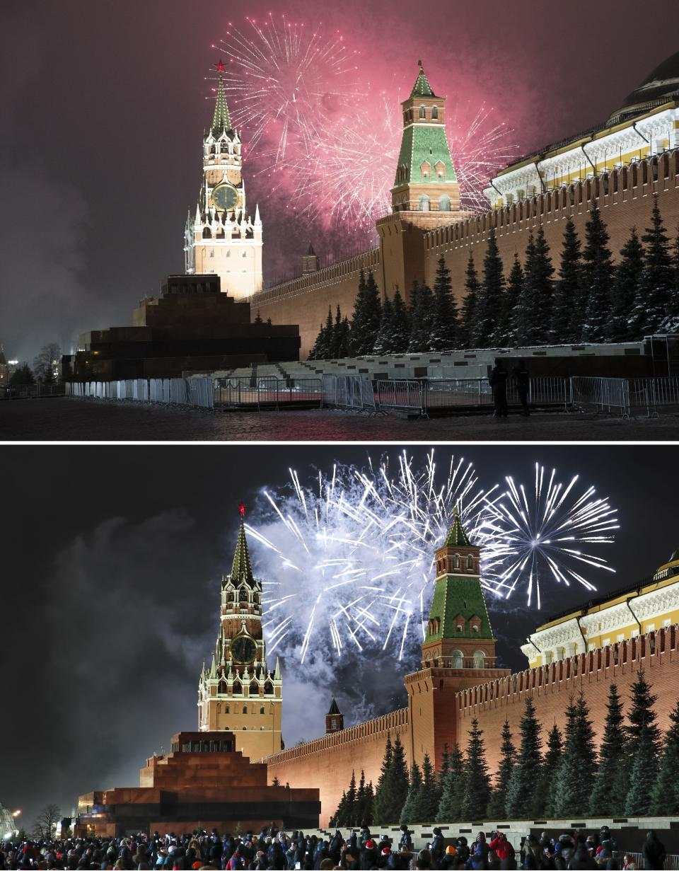 This combo image shows at top fireworks exploding over the Kremlin and the Spasskaya Tower in an almost empty Red Square during New Year's celebrations in Moscow, Russia, Thursday, Dec. 31, 2020 and below, a file photo taken from the same angle during New Year's celebrations on Dec. 31, 2019. As the world says goodbye to 2020, there will be countdowns and live performances, but no massed jubilant crowds in traditional gathering spots like the Champs Elysees in Paris and New York City's Times Square this New Year's Eve. The virus that ruined 2020 has led to cancelations of most fireworks displays and public events in favor of made-for-TV-only moments in party spots like London and Rio de Janeiro. (AP Photo/Pavel Golovkin, Denis Tyrin)