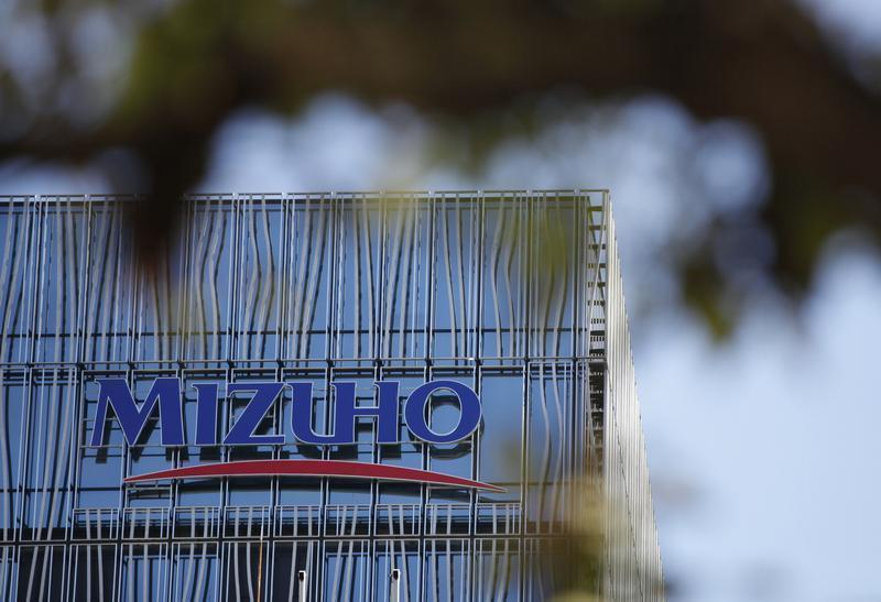 A logo of Mizuho bank, belonging to Mizuho Financial Group, is seen at its branch in Tokyo