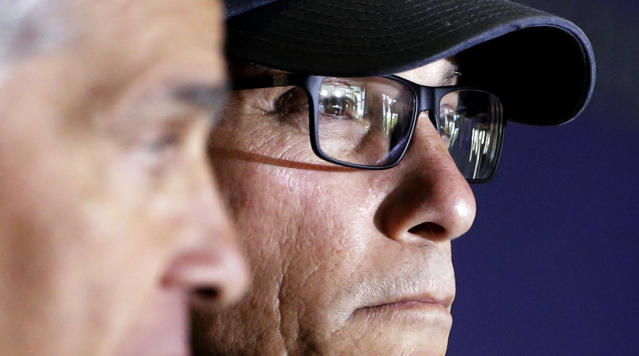 Chicago Bears head coach Marc Trestman listens to questions at a news conference during the team's NFL football training camp at Olivet Nazarene University on Wednesday, July 23, 2014., in Bourbonnais, Ill. (AP Photo/Nam Y. Huh)