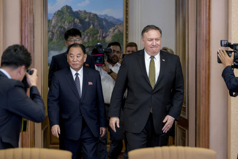 U.S. Secretary of State Mike Pompeo, right, and Kim Yong Chol, left, a North Korean senior ruling party official and former intelligence chief, return to discussions after a break at Park Hwa Guest House in Pyongyang, North Korea, Saturday, July 7, 2018. (AP Photo/Andrew Harnik, Pool)
