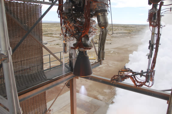 Blue Origin test fires a powerful new hydrogen- and oxygen-fueled American rocket engine at the company's West Texas facility. Blue Origin's Orbital Launch Vehicle will use the BE-3 engine to propel the company's Space Vehicle into orbit.