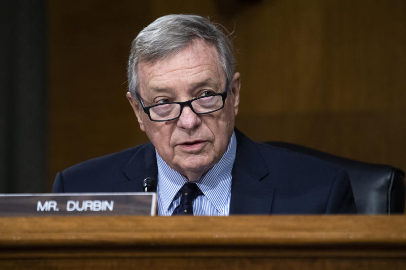 Sen. Richard Durbin, D-Ill., makes an opening statement during a Senate Judiciary Committee hearing examining issues facing prisons and jails during the coronavirus pandemic on Capitol Hill in Washington, Tuesday, June 2, 2020. (Tom Williams/CQ Roll Call/Pool via AP)
