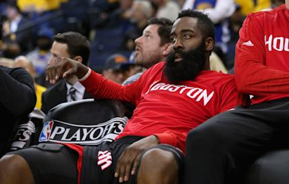 James Harden sits on the outside, looking in. (Ezra Shaw/Getty Images)