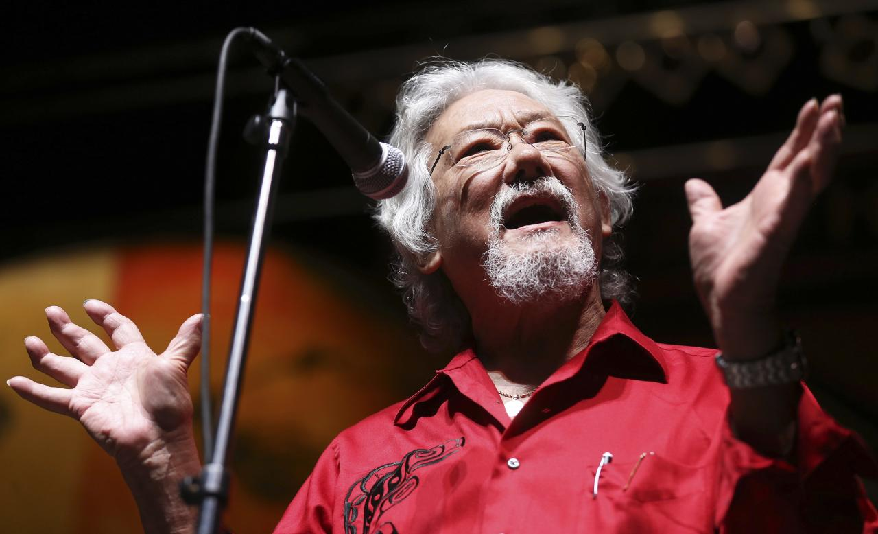 "Environmental activist David Suzuki addresses the media before musician Neil Young's ""Honor The Treaties"" concert series at the Centennial Concert Hall in Winnipeg, Manitoba, January 16, 2014. Young is touring to raise money for the Athabasca Chipewyan First Nation aboriginal group, which is trying to prevent the expansion of tar sands development. REUTERS/Trevor Hagan (CANADA - Tags: POLITICS ENTERTAINMENT ENVIRONMENT ENERGY SOCIETY)"