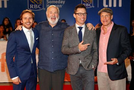 """Actors Michael Stahl-David (L), Jeffrey Donovan (2nd R), and Woody Harrelson (R) pose with Director Rob Reiner (2nd L) as they arrive on the red carpet for the film """"LBJ"""" during the 41st Toronto International Film Festival (TIFF), in Toronto, Canada, September 15, 2016.    REUTERS/Mark Blinch"""