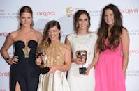 LONDON, ENGLAND - MAY 12: Millie Mackintosh, Louise Thompson, Lucy Watson and Binky Felstead pose in the press room at the Arqiva British Academy Television Awards 2013 at the Royal Festival Hall on May 12, 2013 in London, England. (Photo by Karwai Tang/Getty Images)