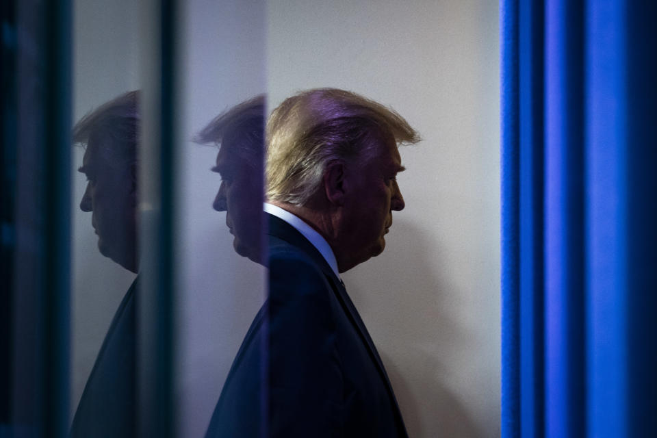 FILE PHOTO: President Donald J. Trump departs after delivering remarks on delivering lower prescription drug prices for all Americans at the White House on Friday, Nov 20, 2020 in Washington, DC. (Photo by Jabin Botsford/The Washington Post via Getty Images)