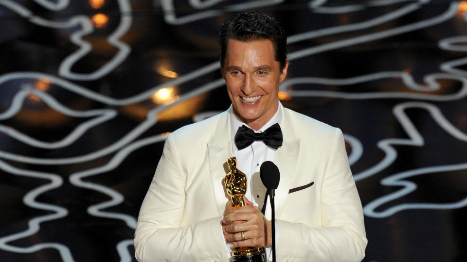 Matthew McConaughey accepts the Best Actor award for 'Dallas Buyers Club' onstage during the Oscars on March 2, 2014. (Photo by Kevin Winter/Getty Images)
