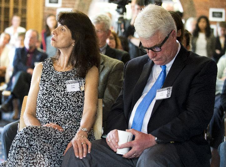 John and Diane Foley, parents of James Foley, listen to a panel discussion about the importance and dangers of reporting on world conflicts at a Free James Foley event on May 3, 2013 in Boston