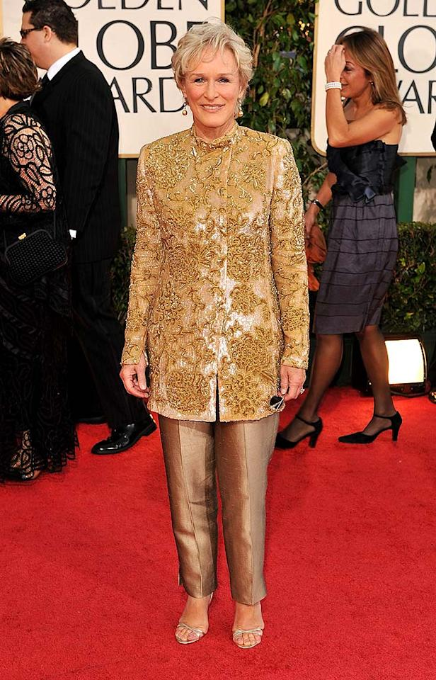 "Glenn Close terrified the masses in a gaudy gold blazer and mismatched metallic trousers. Steve Granitz/<a href=""http://www.wireimage.com"" target=""new"">WireImage.com</a> - January 11, 2009"