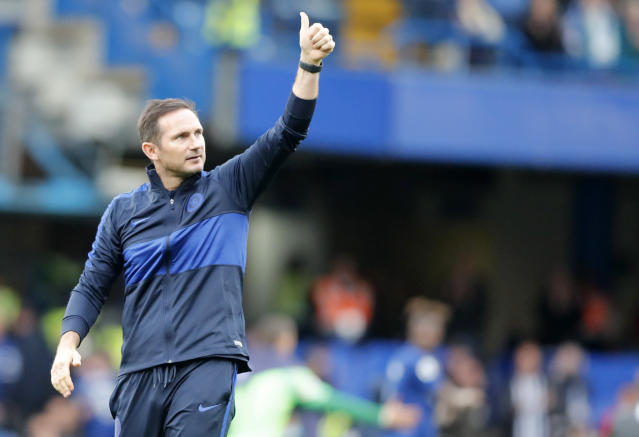 Chelsea's head coach Frank Lampard gives a thumb up after his team won the English Premier League soccer match between Chelsea and Brighton & Hove Albion at Stamford Bridge stadium in London, Saturday, Sept. 28, 2019.(AP Photo/Frank Augstein)