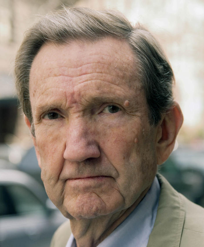 FILE - This Tuesday March 28, 2006 file photo shows former U.S. Attorney General Ramsey Clark in New York. Ramsey Clark, the attorney general in the Johnson administration who became an outspoken activist for unpopular causes and a harsh critic of U.S. policy, has died, Friday, April 9, 2021. He was 93. (AP Photo/Jim Cooper, File)