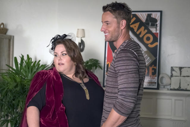 Chrissy Metz as Kate Pearson and Justin Hartley as Kevin Pearson in NBC's <i>This Is Us</i>. (Photo: Ron Batzdorff/NBC)