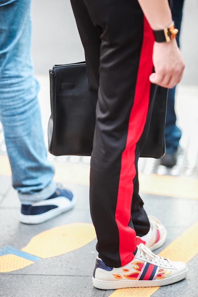 <p>Who says track pants are only for exercising? Here's another spin on the athleisure trend. (Photo: Don Wong) </p>