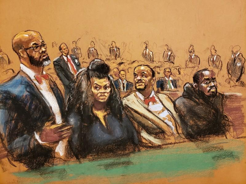 Courtroom sketch shows Lawyer Jason Foy speaking next to Tova Noel, lawyer Montell Figgins and Michael Thomas
