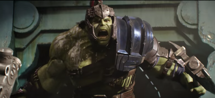 The Hulk enters the arena.