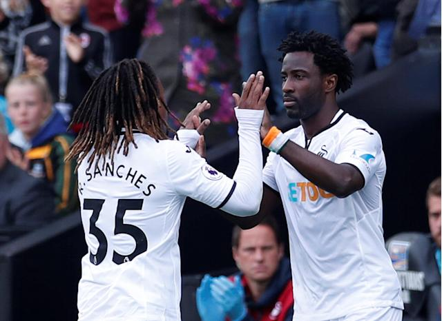 Swansea City's Wilfried Bony comes on as a substitute to replace Renato Sanches