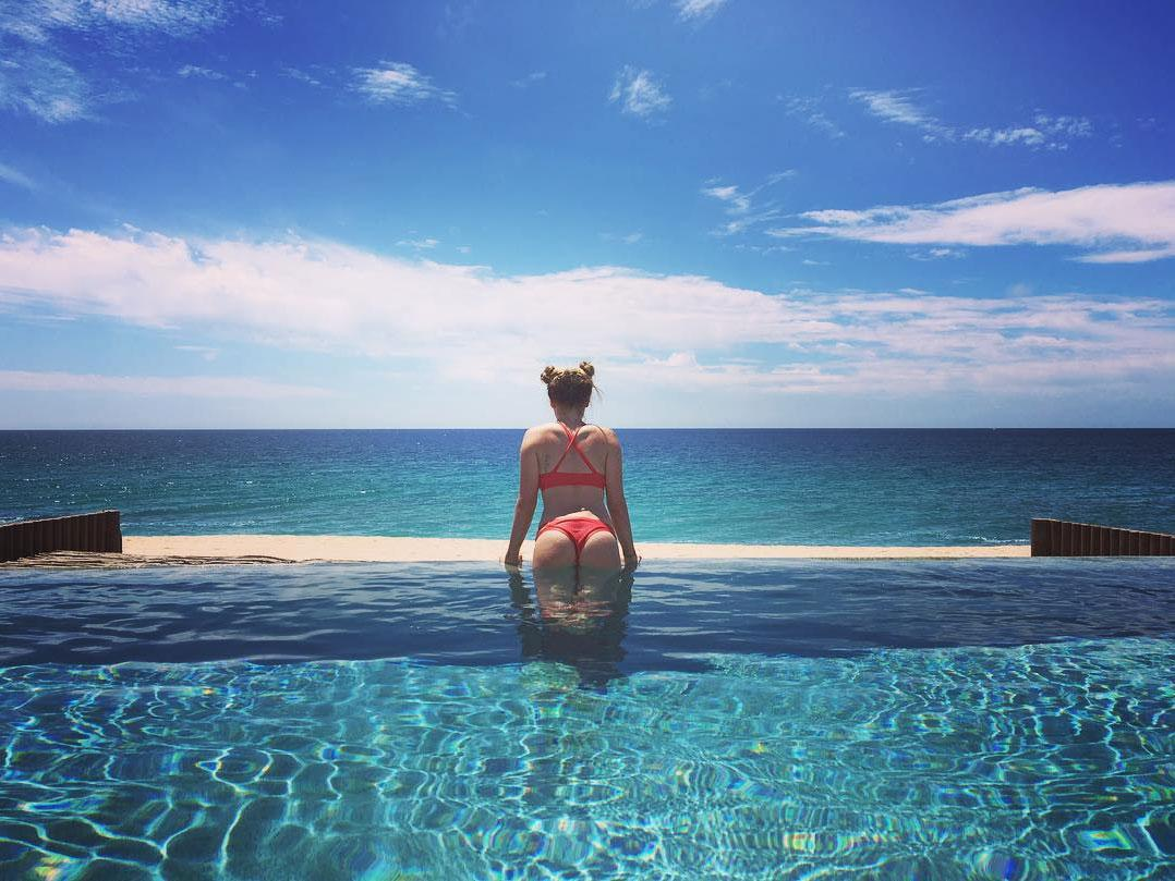 """<p>Ashley lives her best vacation life by putting her """"<a rel=""""nofollow"""" href=""""https://www.instagram.com/p/BEgye4XwaKn/"""">bunz</a>"""" on display in the pool.</p>"""