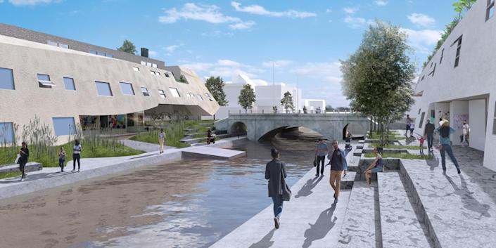 An artist's rendering of people walking and sitting along a canal with long buildings on both sides.