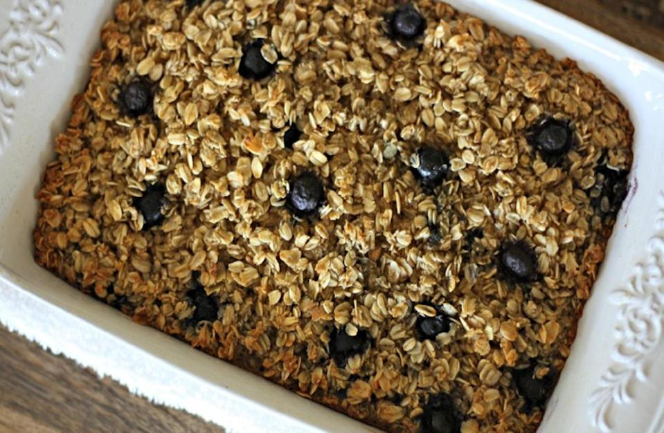"""<p>If you're staying on top of trends, then you probably came across a<a href=""""https://www.thedailymeal.com/cook/baked-oatmeal?referrer=yahoo&category=beauty_food&include_utm=1&utm_medium=referral&utm_source=yahoo&utm_campaign=feed"""" rel=""""nofollow noopener"""" target=""""_blank"""" data-ylk=""""slk:baked oatmeal recipe"""" class=""""link rapid-noclick-resp""""> baked oatmeal recipe</a> once or twice on TikTok. Baking your oatmeal creates a crunchy exterior and chewy inside, which is <em>way</em> better than soupy porridge.</p> <p><a href=""""https://www.thedailymeal.com/best-recipes/baked-blueberry-oatmeal-healthy-breakfast?referrer=yahoo&category=beauty_food&include_utm=1&utm_medium=referral&utm_source=yahoo&utm_campaign=feed"""" rel=""""nofollow noopener"""" target=""""_blank"""" data-ylk=""""slk:For the Baked Blueberry Oatmeal recipe, click here."""" class=""""link rapid-noclick-resp"""">For the Baked Blueberry Oatmeal recipe, click here.</a></p>"""