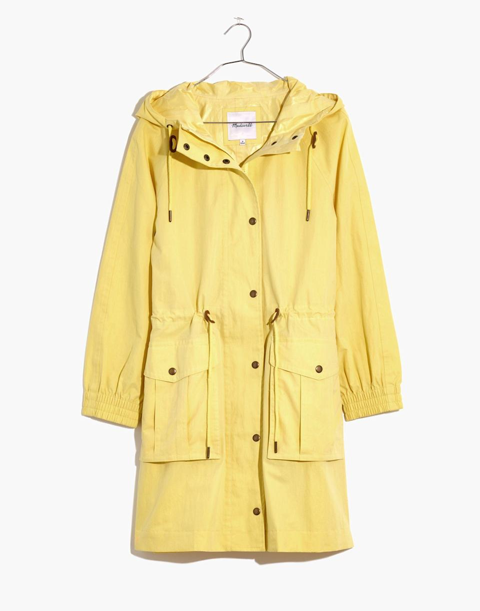 """<p><strong>Madewell</strong></p><p>madewell.com</p><p><a href=""""https://go.redirectingat.com?id=74968X1596630&url=https%3A%2F%2Fwww.madewell.com%2Fwaterproof-rainfall-anorak-raincoat-MD256.html&sref=https%3A%2F%2Fwww.marieclaire.com%2Ffashion%2Fg36053744%2Fmadewell-spring-sale-2021%2F"""" rel=""""nofollow noopener"""" target=""""_blank"""" data-ylk=""""slk:SHOP IT"""" class=""""link rapid-noclick-resp"""">SHOP IT</a></p><p><strong><del>$168</del> $134 (20% off)</strong></p><p>Yellow raincoats are bold and timeless in equal measure. </p>"""