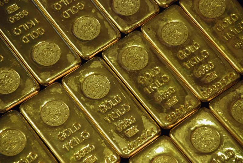 Gold bars are seen at a jewellery shop in Lucknow