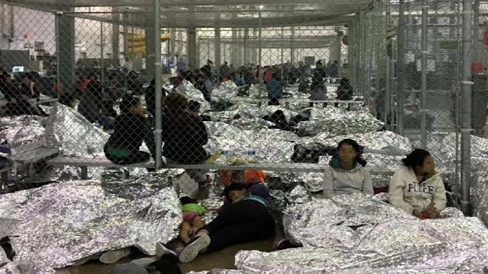 An overcrowded fenced area holding families at a Border Patrol Centralized Processing Center is seen in a still image from video in McAllen, Texas, U.S. on June 11, 2019 and released as part of a report by the Department of Homeland Security's Office of Inspector General on July 2, 2019. Picture pixelated at source. (Photo: Office of Inspector General/DHS/Handout via Reuters)