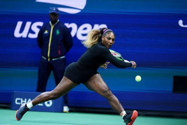 PHOTO: Serena Williams plays her first round at the 2019 US Open in New York, Aug. 26, 2019. (Liu Jie/Xinhua/Newscom)