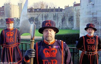 The Tower of London is guarded by Beefeaters and ravens