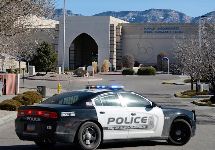 A police car is parked in front of the Ronald Gardenswartz Jewish Community Center in Albuquerque after it was closed down and evacuated following a bomb scare on Jan. 31. (Photo: Jim Thompson/Albuquerque Journal via ZUMA Wire)