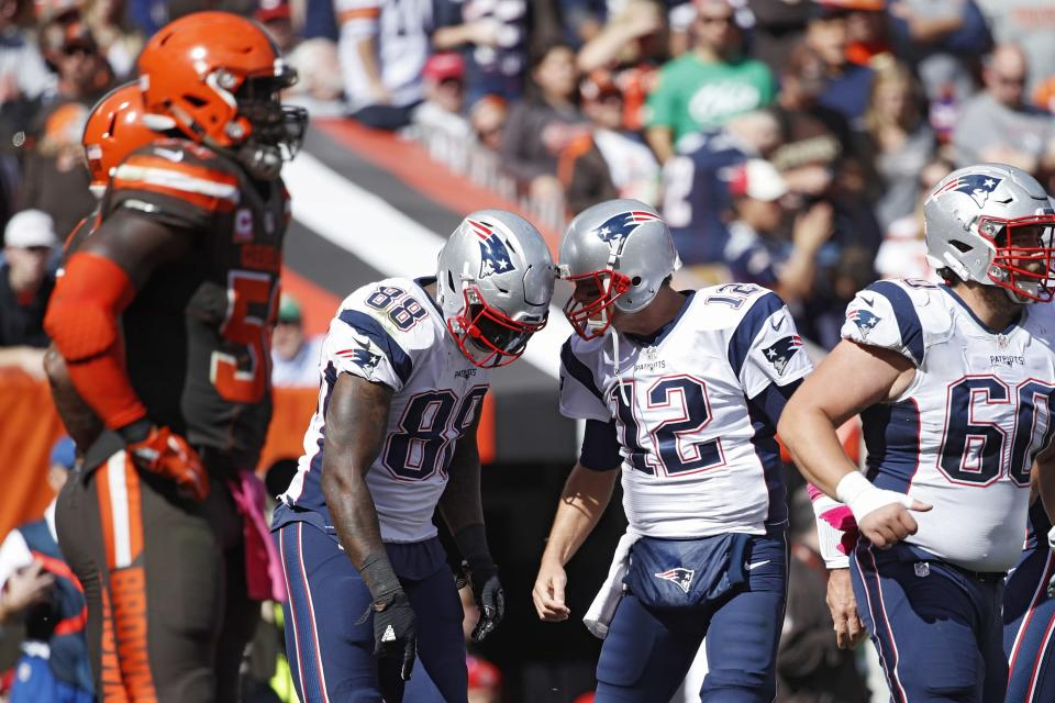 Tom Brady hooked up with Martellus Bennett three times for touchdowns. (Getty Images)