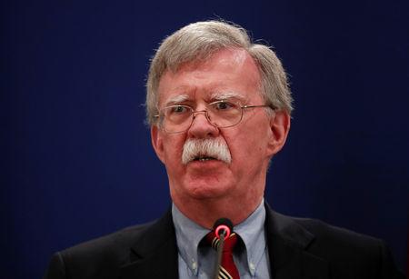 U.S. National Security Adviser Bolton attends a news briefing in Tbilisi