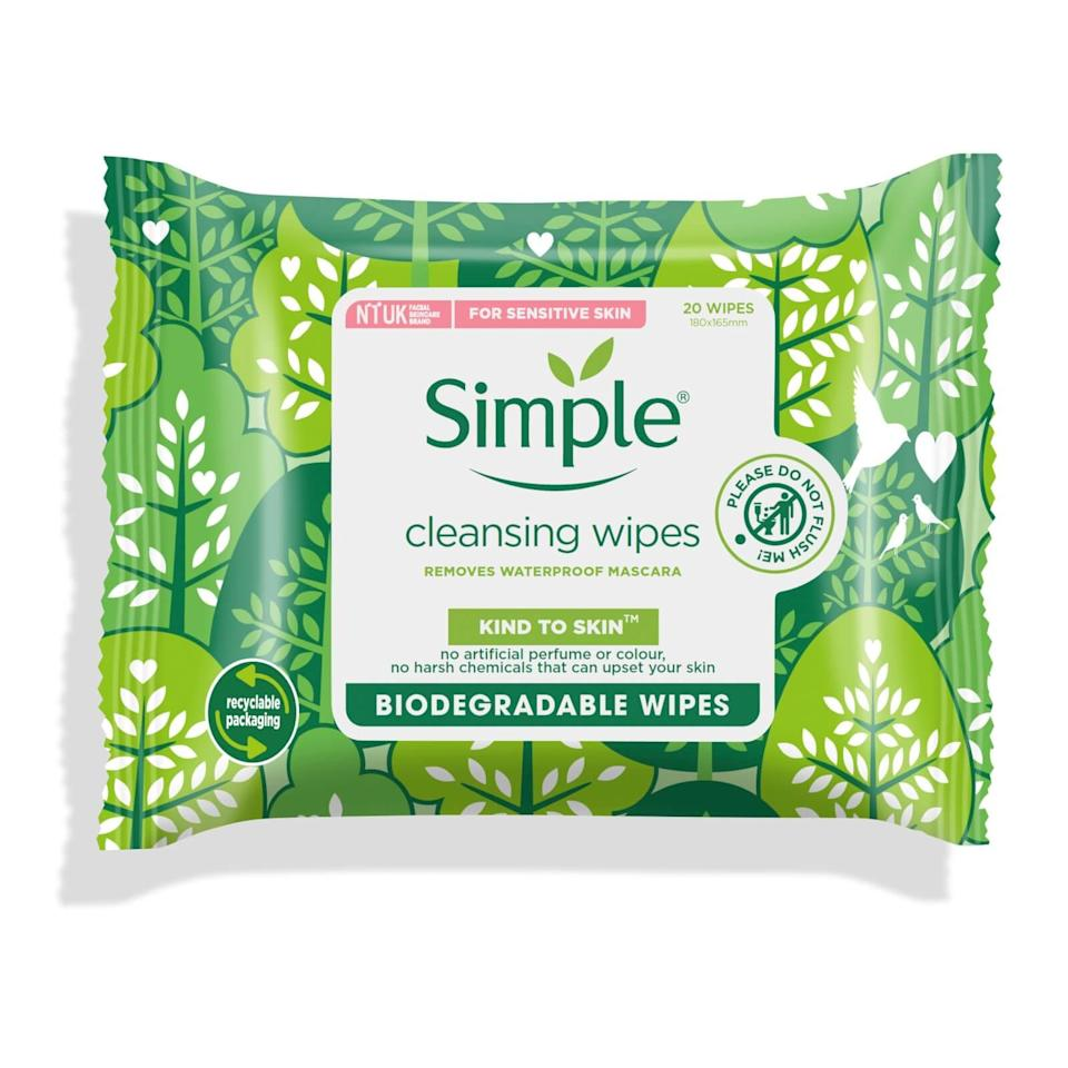 "<h3>Simple Kind to Skin Biodegradable Cleansing Facial Wipes</h3><br>The U.K. beauty export makes some of the most tried-and-true makeup wipes on drugstore shelves, and recently launched a compostable version of its bestselling cleansing towelettes — which are a win for the environment <em>and </em>clean skin.<br><br><strong>Simple</strong> Kind to Skin Biodegradable Cleansing Facial Wipes, $, available at <a href=""https://go.skimresources.com/?id=30283X879131&url=https%3A%2F%2Fus.lookfantastic.com%2Fsimple-kind-to-skin-biodegradable-cleansing-facial-wipes-20pc%2F12741007.html"" rel=""nofollow noopener"" target=""_blank"" data-ylk=""slk:LookFantastic"" class=""link rapid-noclick-resp"">LookFantastic</a>"