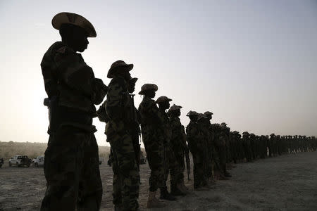 Members of Chadian special forces form a line during Flintlock 2015, an American-led military exercise, in Mao, February 22, 2015. REUTERS/Emmanuel Braun