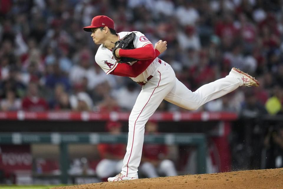 Angels pitcher Shohei Ohtani throws against the Boston Red Sox.